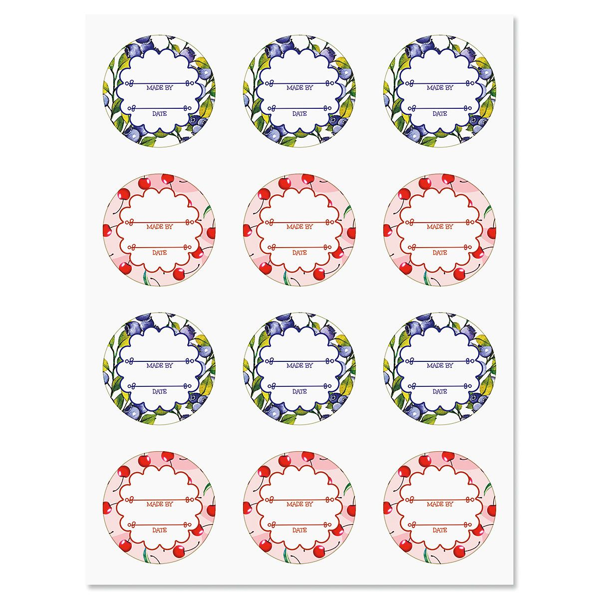 Summer Berries Canning Labels