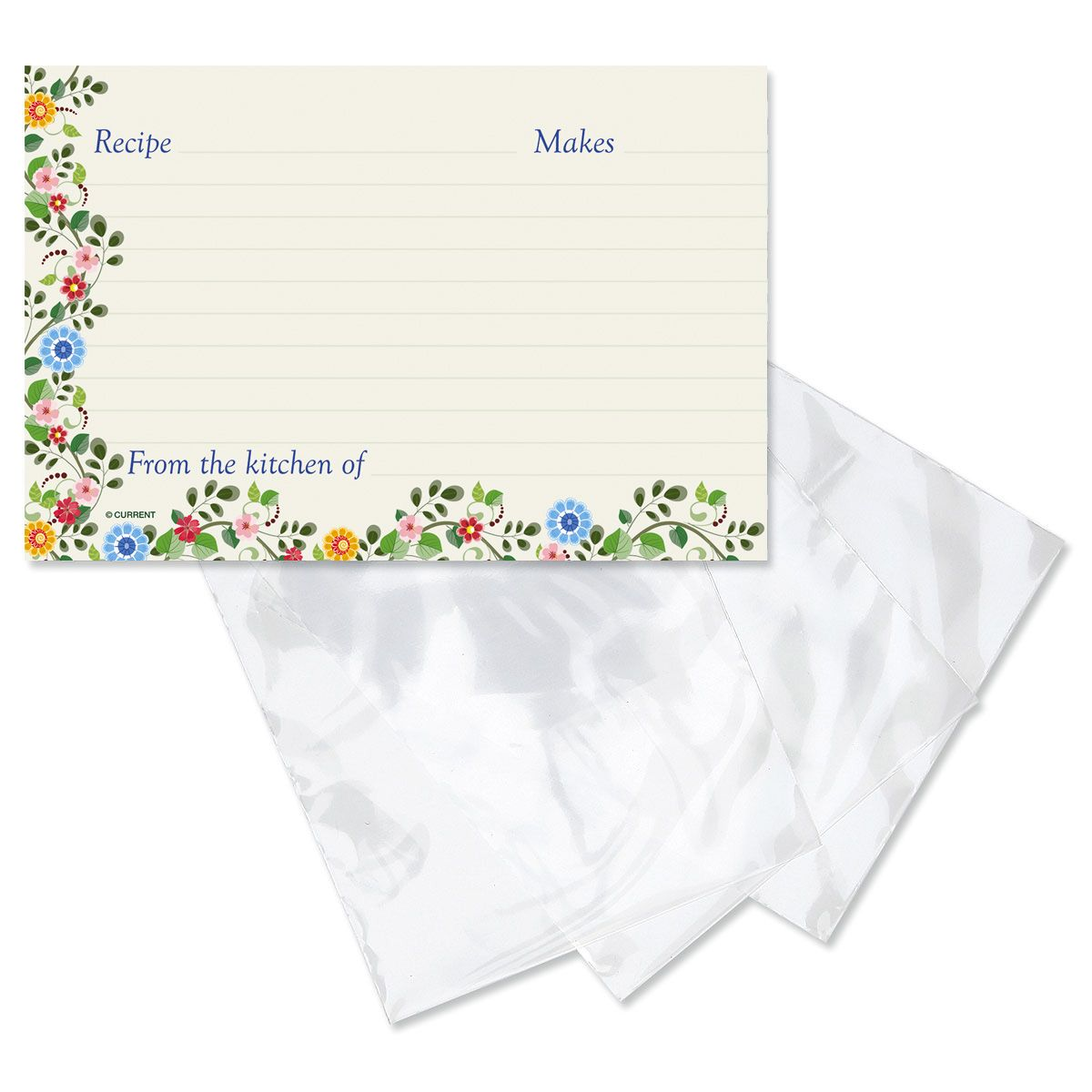 Spring Floral Recipe Card and  Saver Sleeves Gift Set