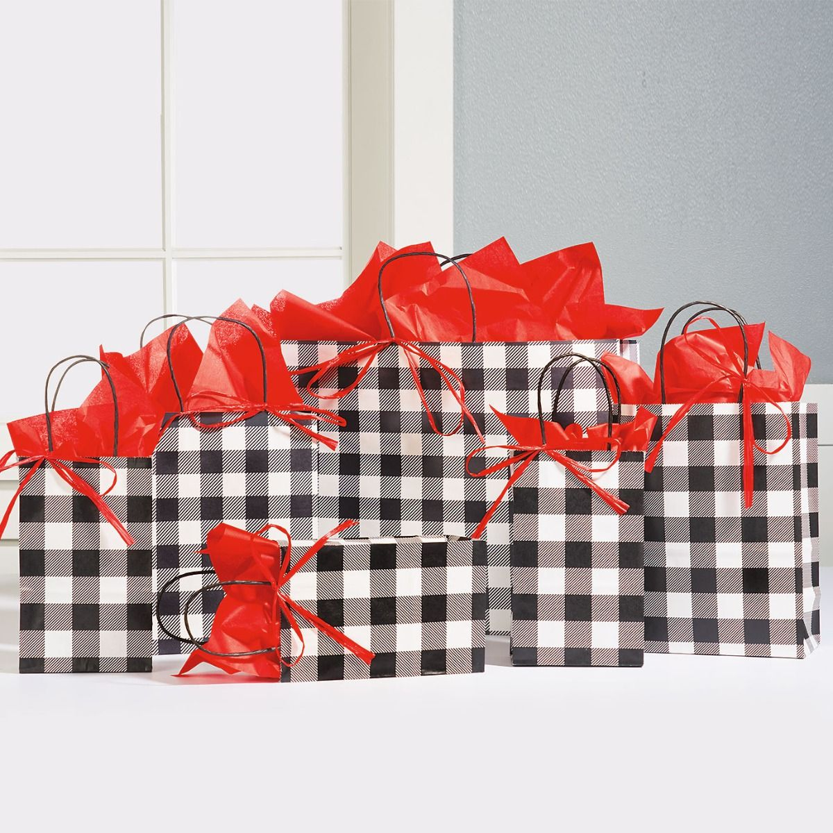 Black & White Plaid Gift Bags