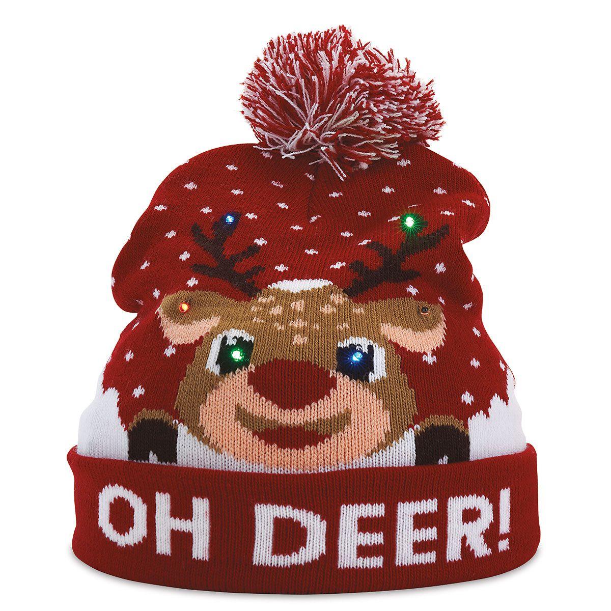 Oh Deer Light-Up Stocking Cap