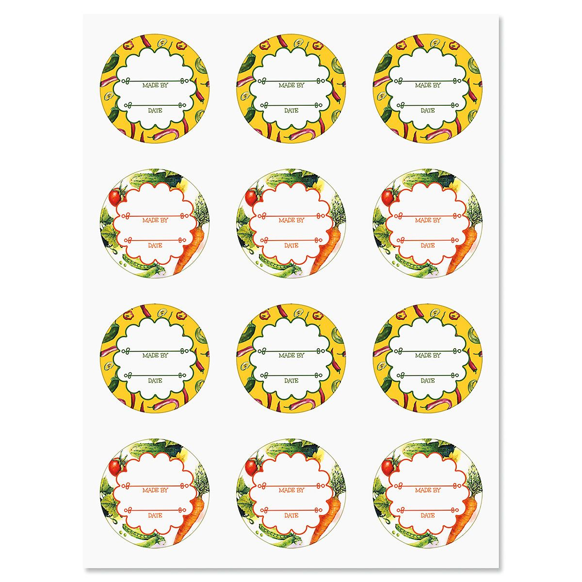 Summer Vegetables Canning Labels