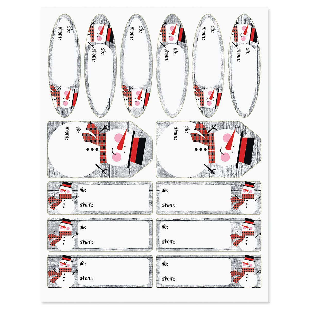 Rustic Plaid Snowman Jumbo Rolled Gift Wrap and Labels