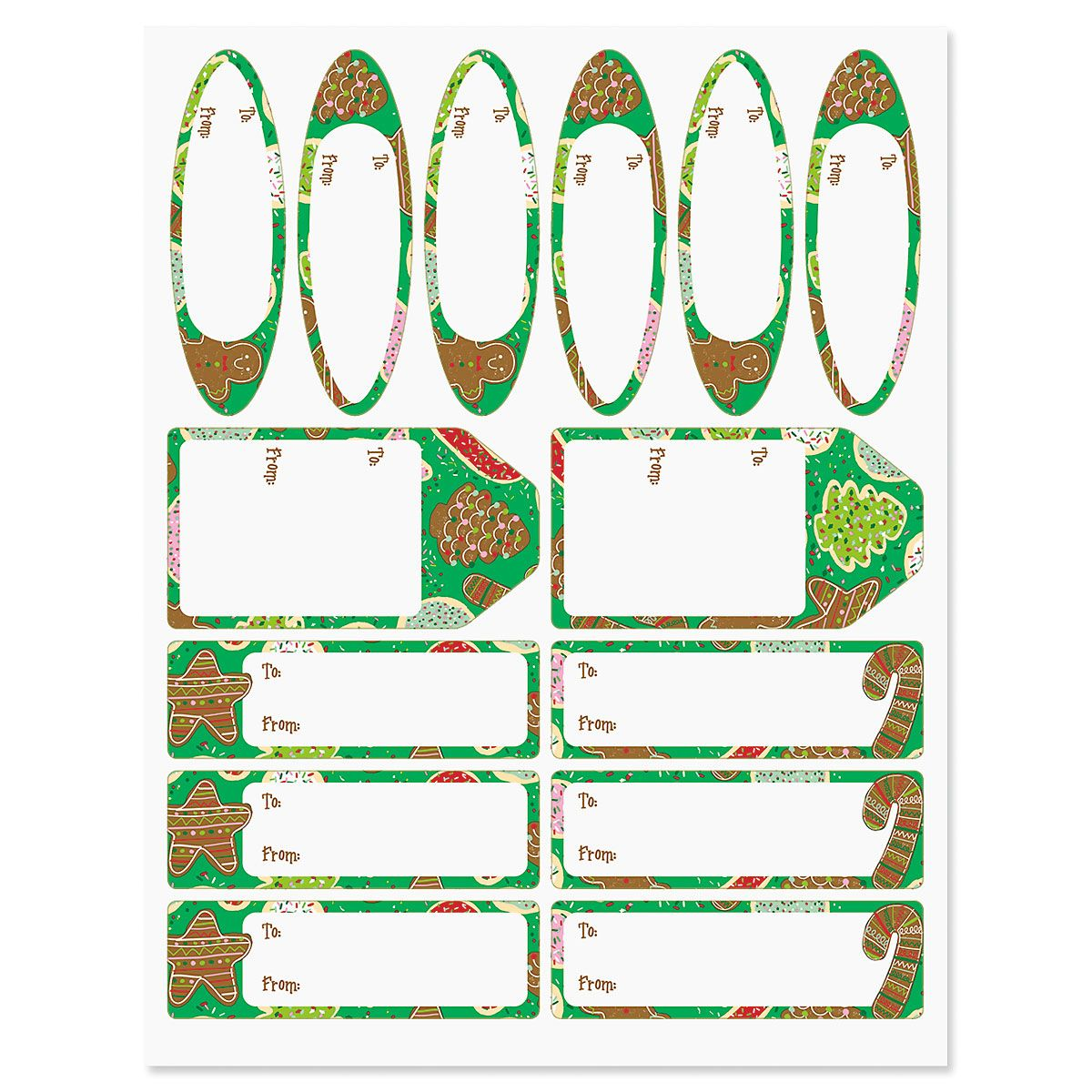 Christmas Cookies Gift Wrap To/From Labels