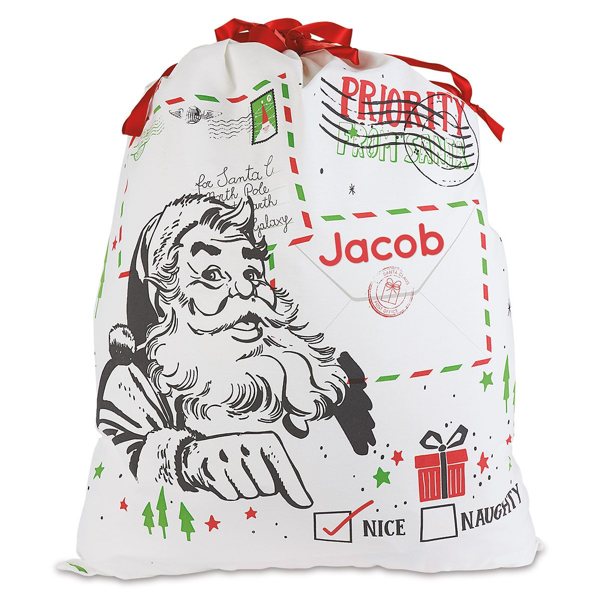 Naughty or Nice Personalized Canvas Gift Bag