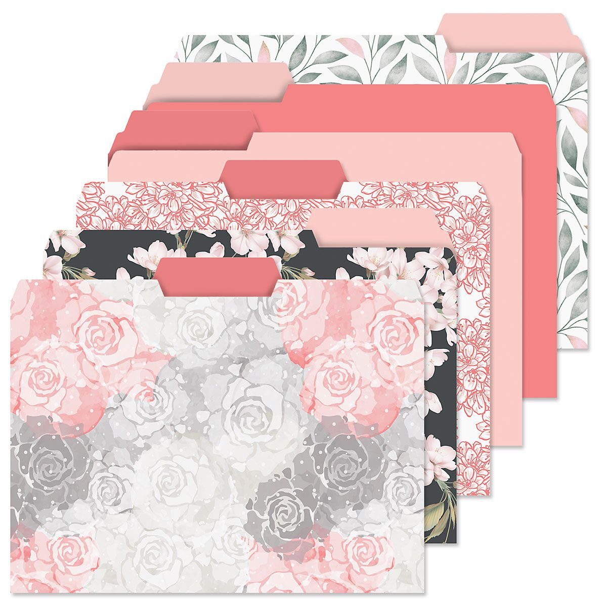Charcoal & Coral File Folders Value Pack