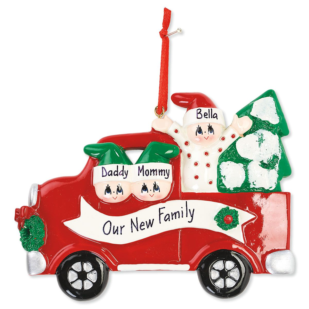 Red Truck with Christmas Tree Hand-Lettered Christmas Ornament