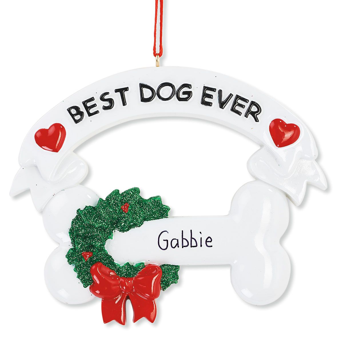 Best Dog Ever Hand-Lettered Christmas Ornament