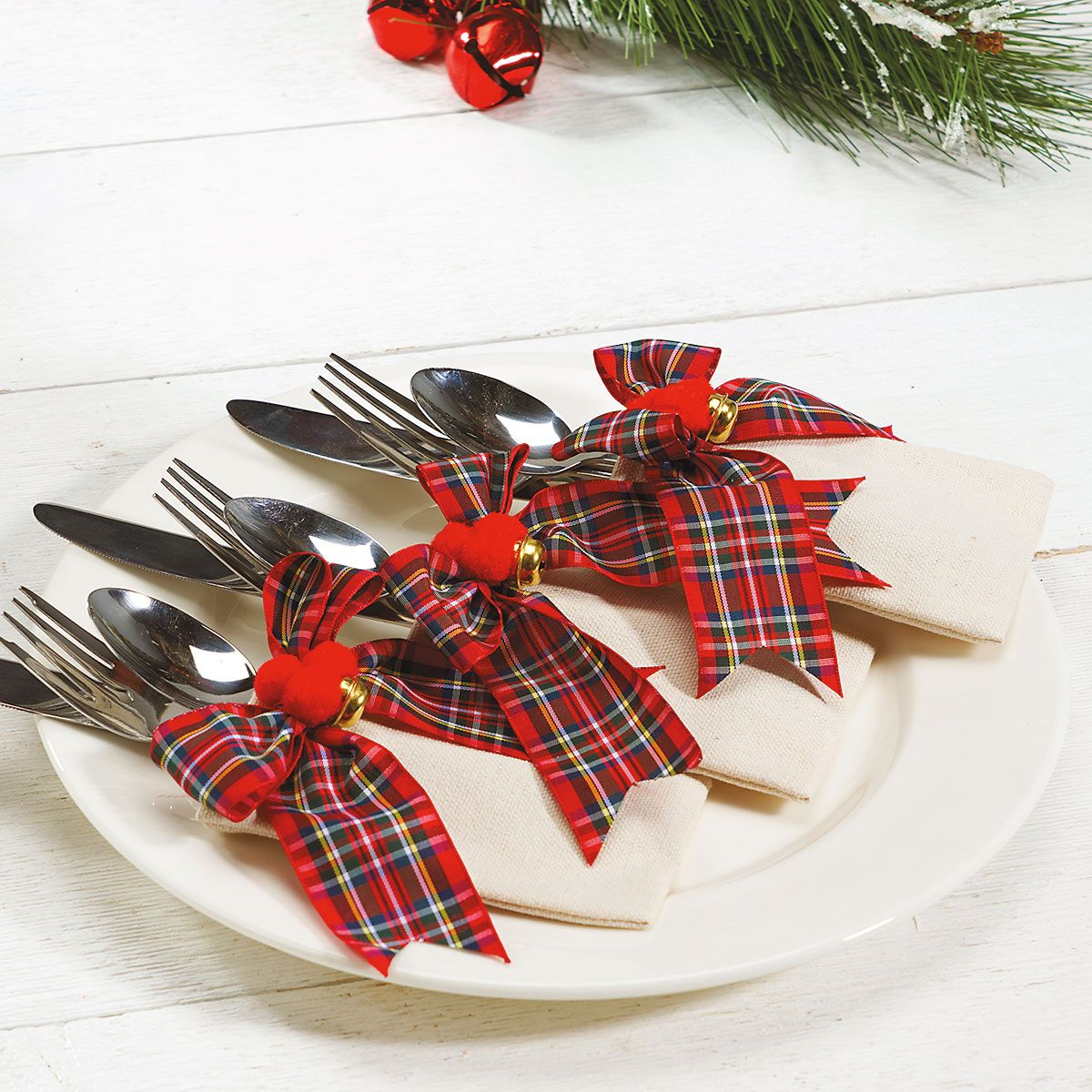 Plaid Bow Flatware Holders