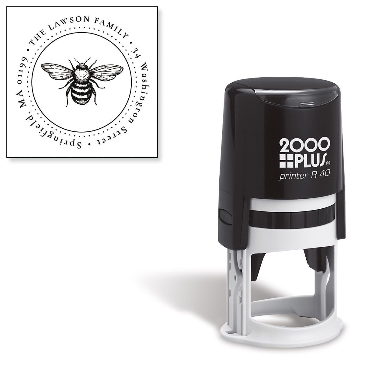 Honeybee Round Self-Inking Address Stamp