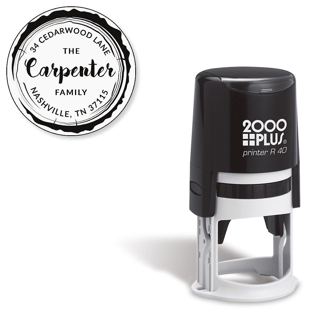 Wood Grain Round Self-Inking Stamp
