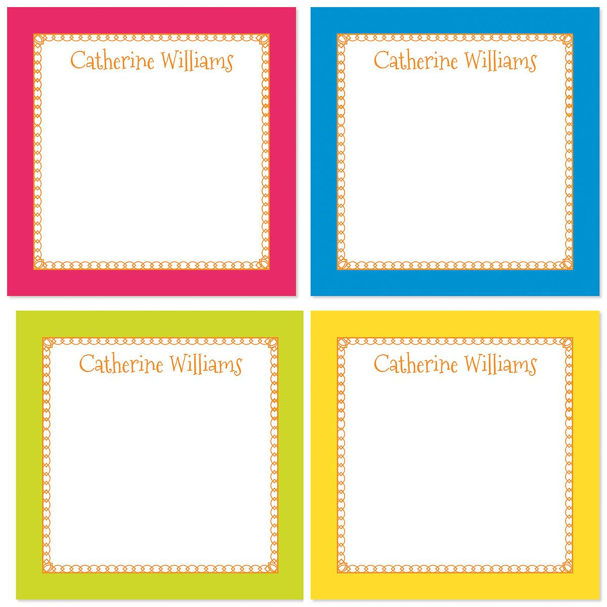 Bright Borders Personalized Note Sheets in a Cube