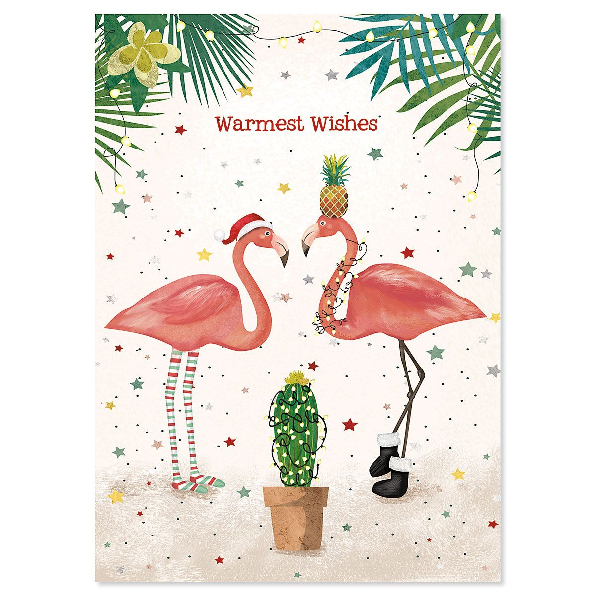 Warmest Wishes Flamingos Christmas Cards