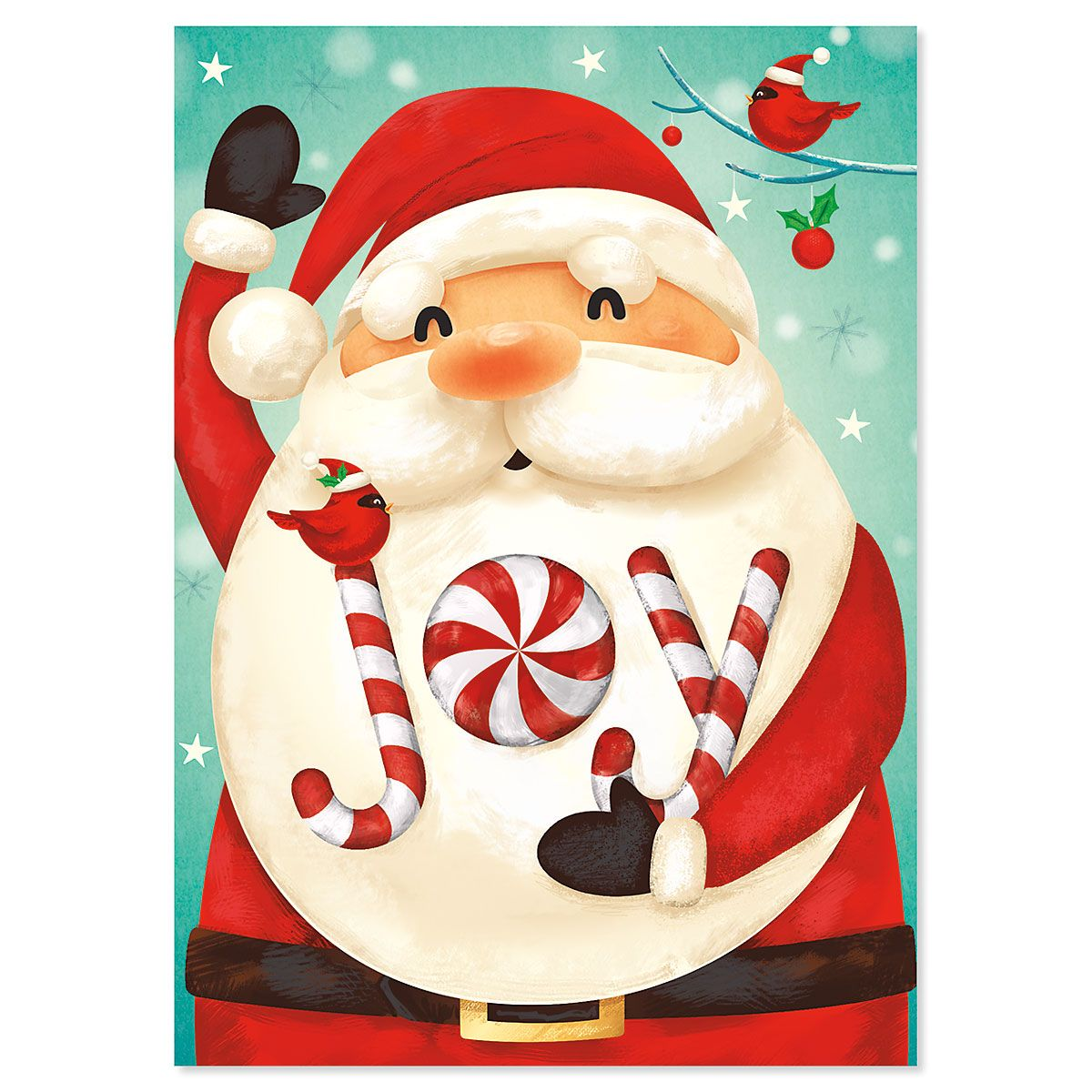 Candy Cane Santa Christmas Cards