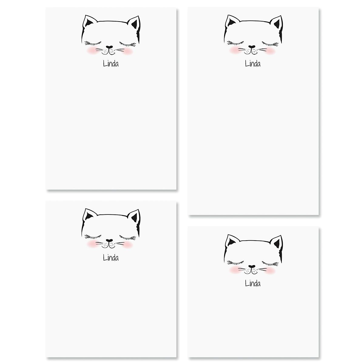 Kitty Ears Personalized Notepad Set