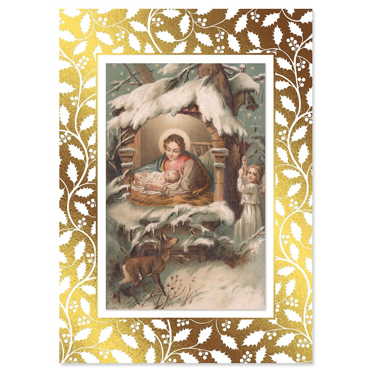 Vintage Nativity Religious Deluxe Foil Christmas Cards