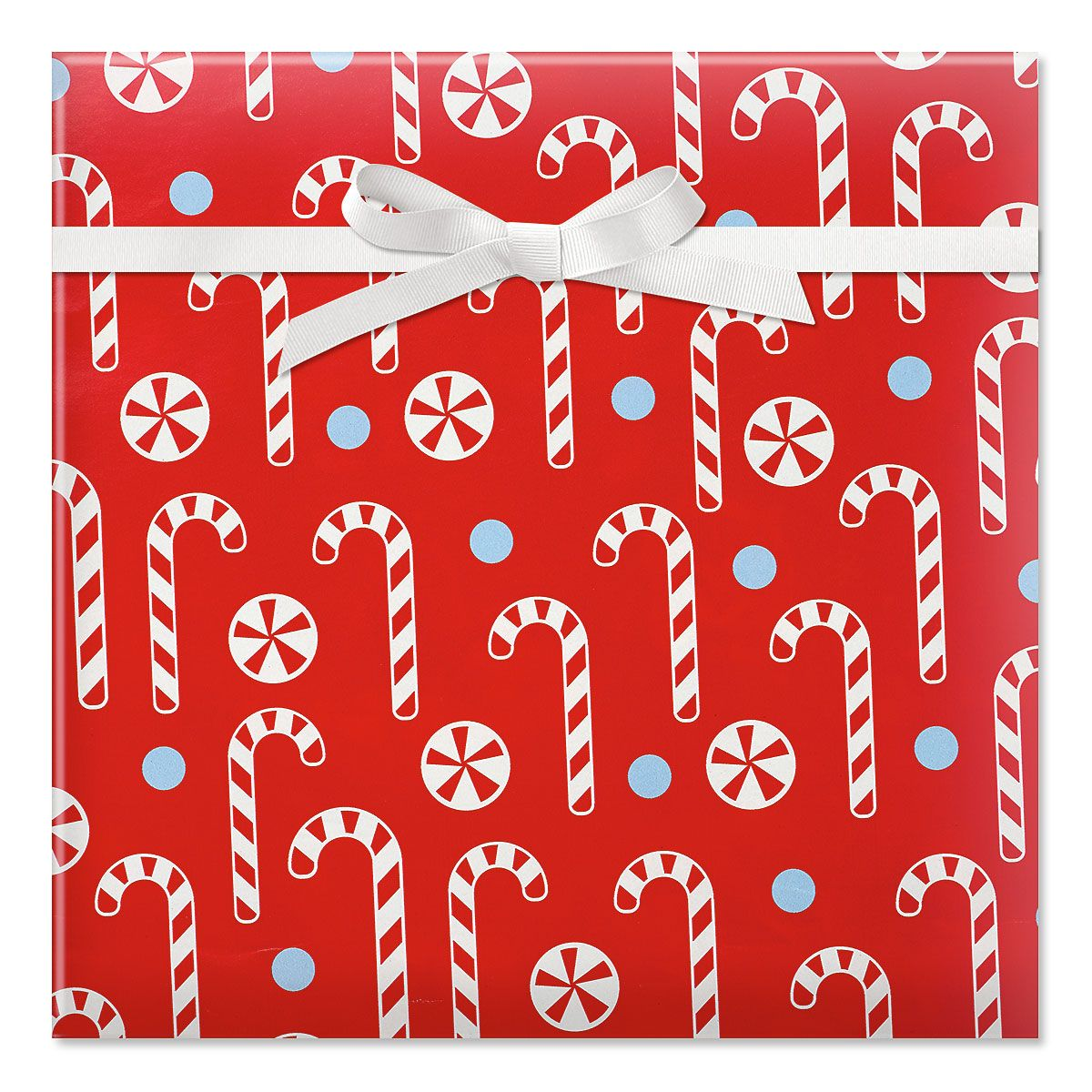 Candy Cane Pattern Rolled Gift Wrap