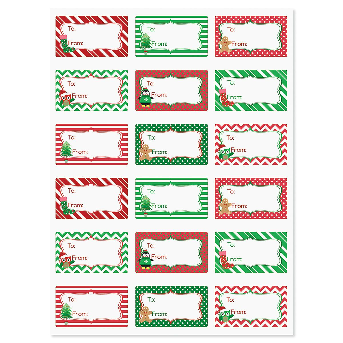 Christmas Patterns To/From Labels