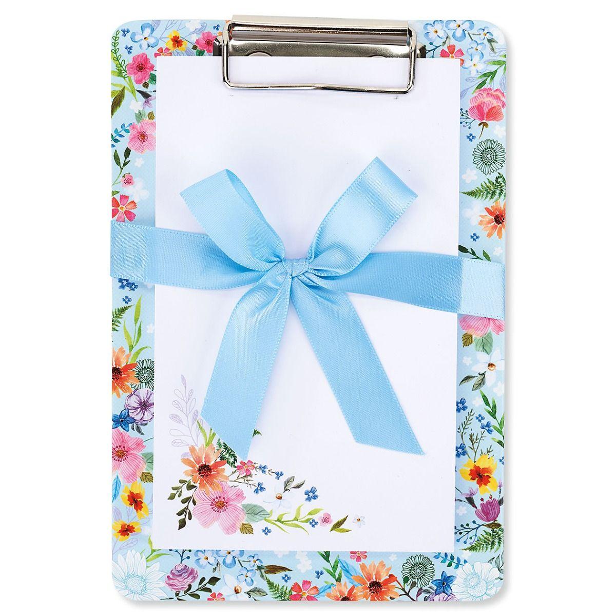 Floral/Blue Notepad & Clipboard Gift Set - BOGO