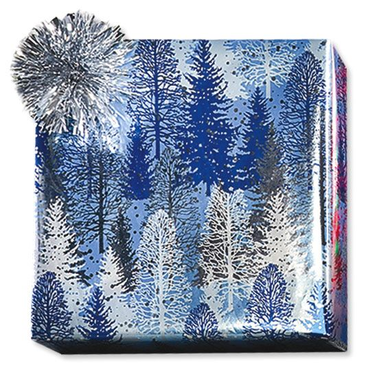 Snowy Winter Trees Foil Rolled Gift Wrap