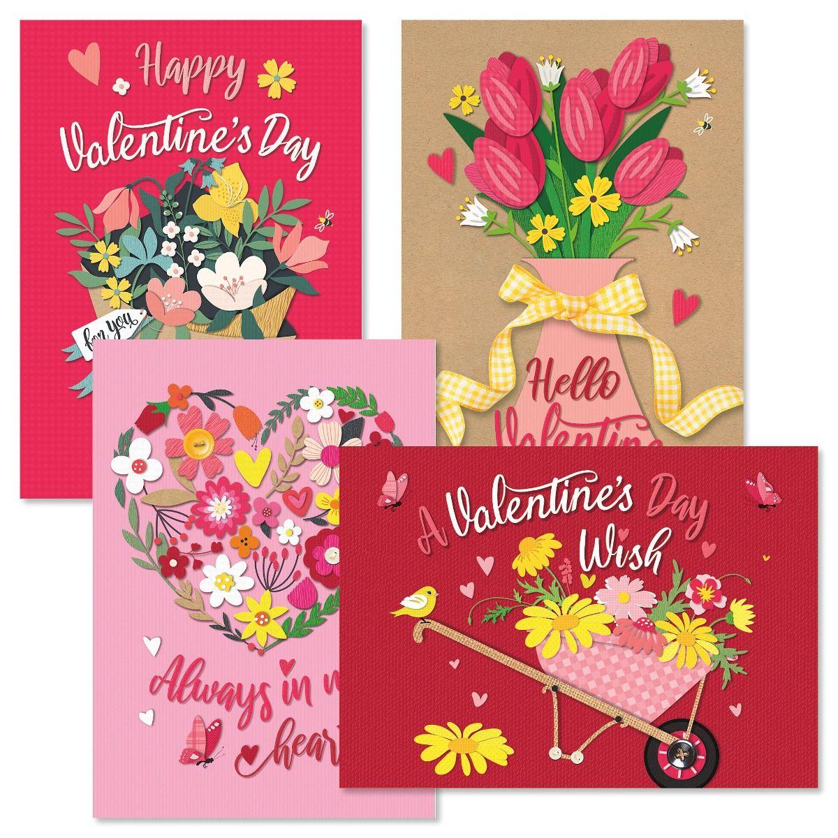 Paper Flower Valentine Cards