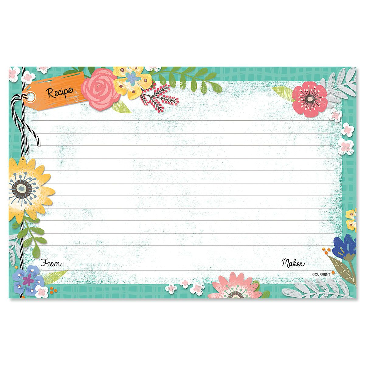 Country Floral Recipe Cards