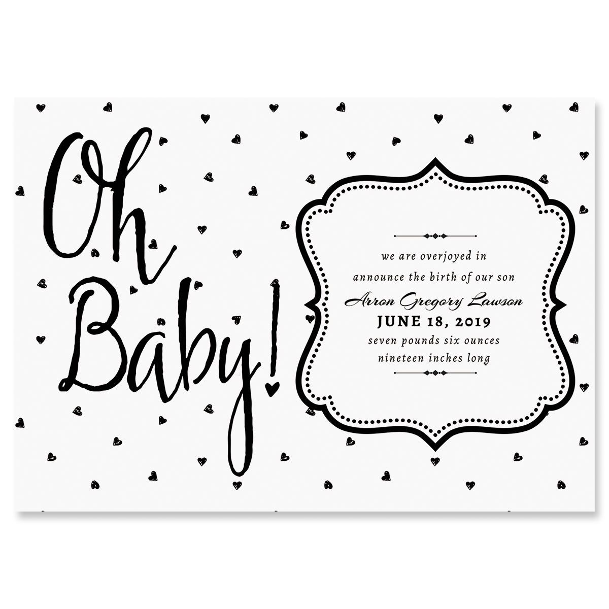 Personalized Oh Baby Hearts Birth Announcements