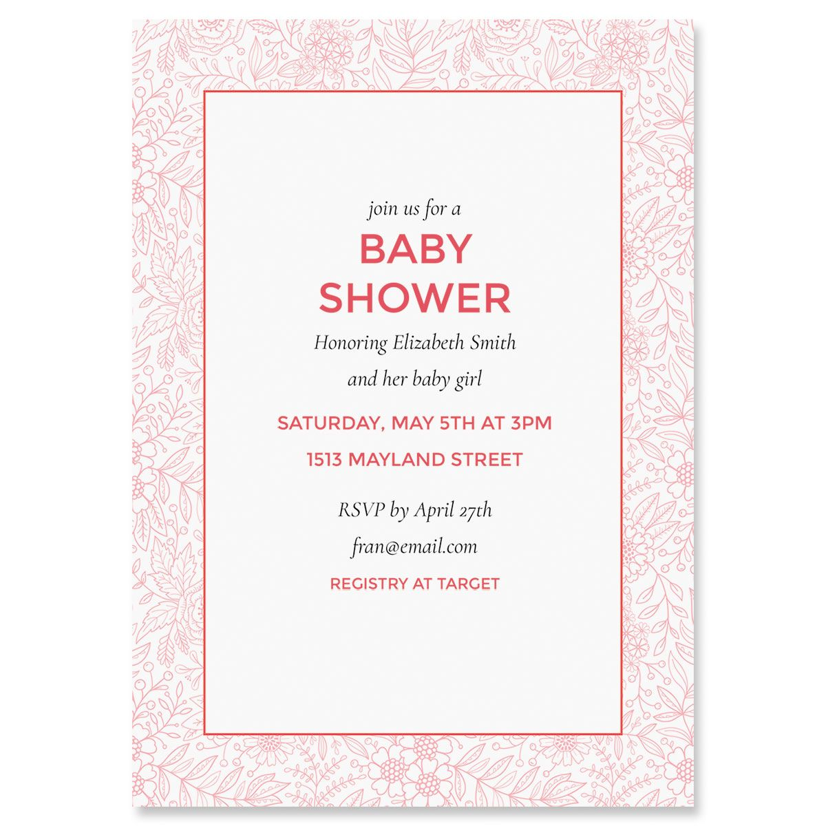 Personalized Red Floral Frame Shower Invitations