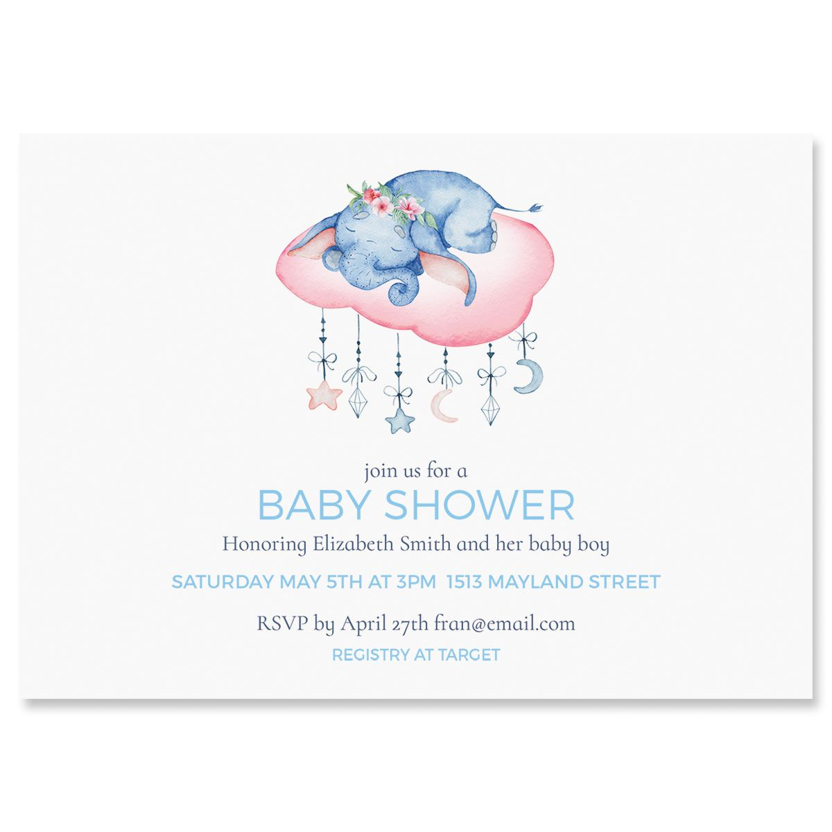Personalized Sleepy Elephant Shower Invitations