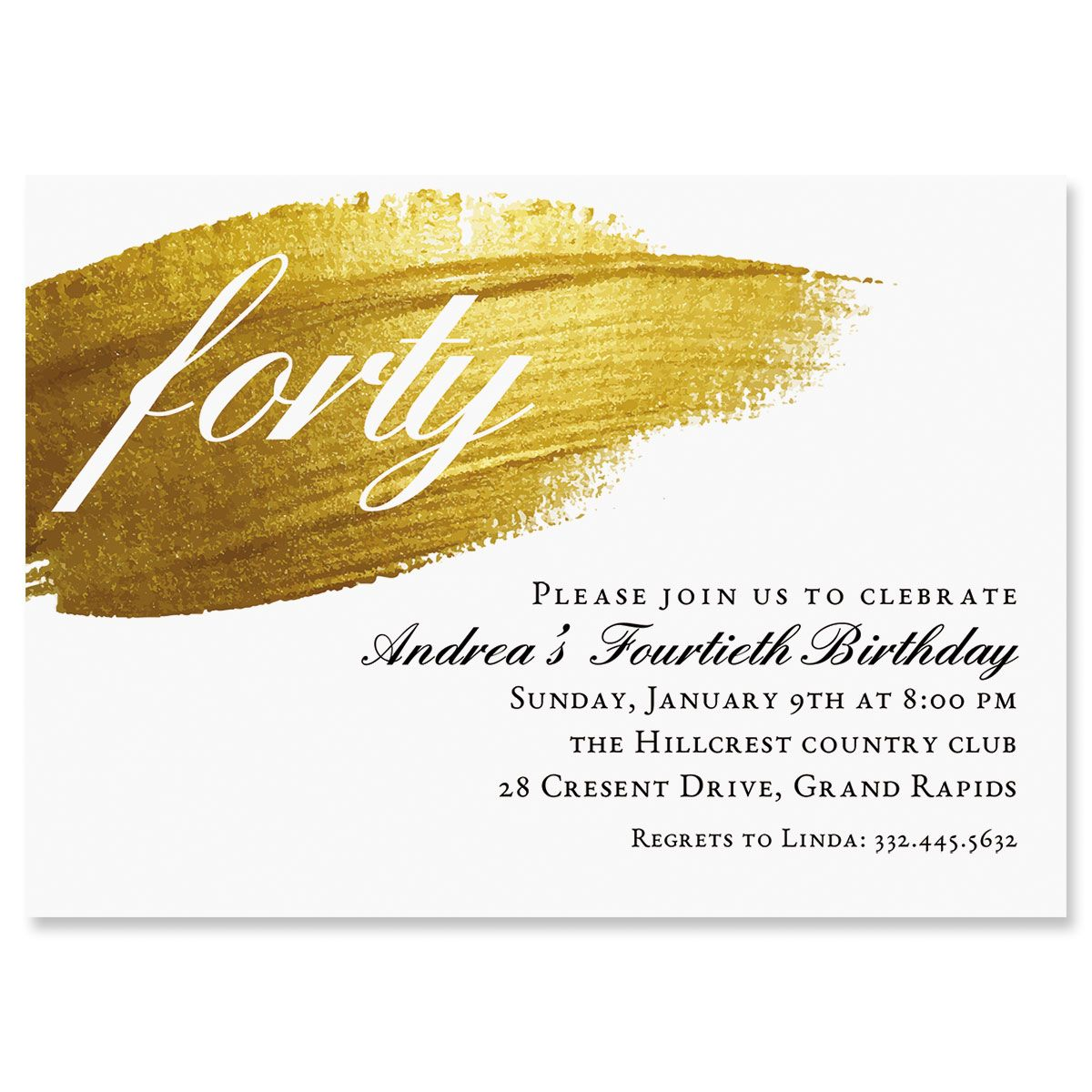 Personalized Brushed Elegance Milestone Invitation
