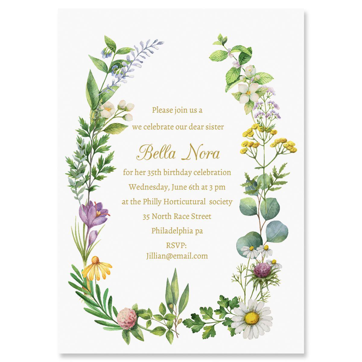 Personalized Larual Botanical Invitations