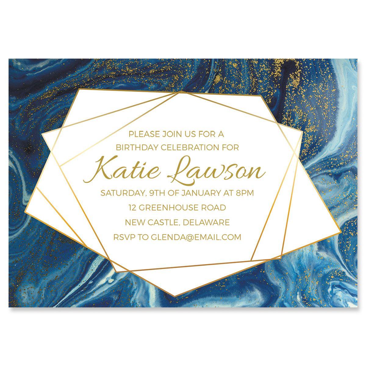 Personalized Modern Marble Indulgence Invitation