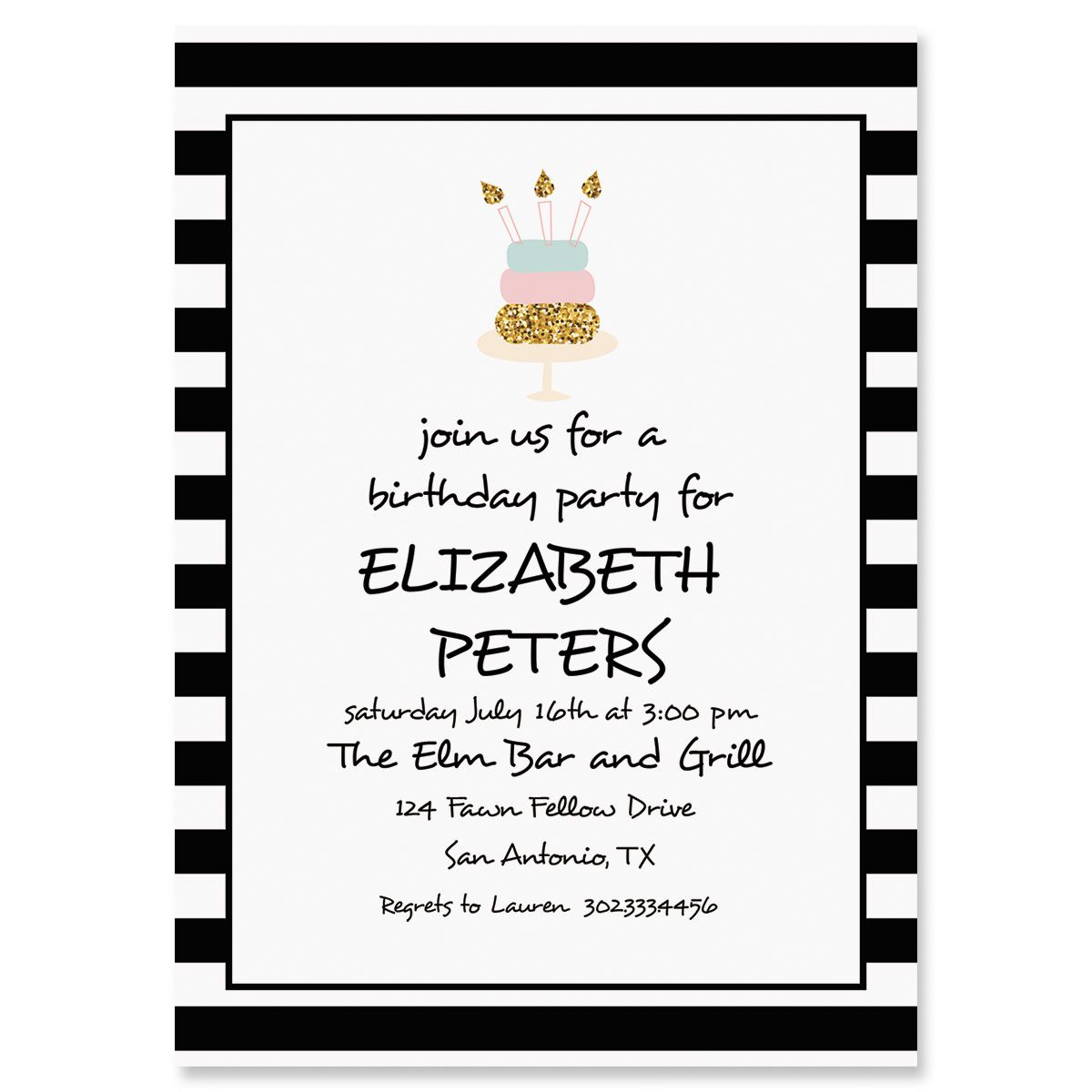 Personalized Stripes with Cake Invitations