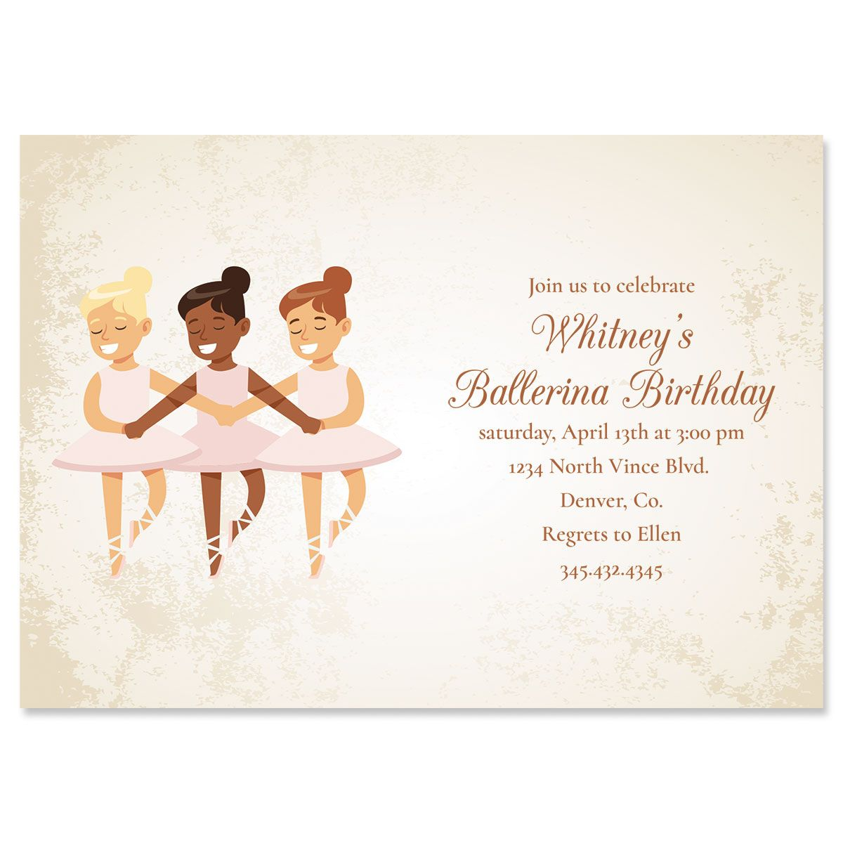 Personalized Ballerina Dancers Birthday Invitations