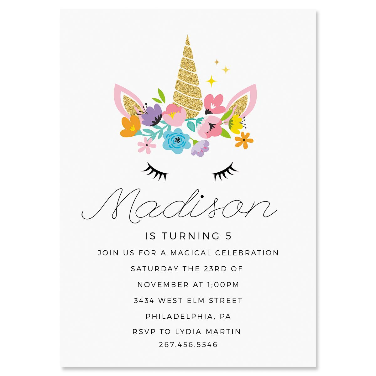 Personalized Bashful Unicorn Birthday Invitations