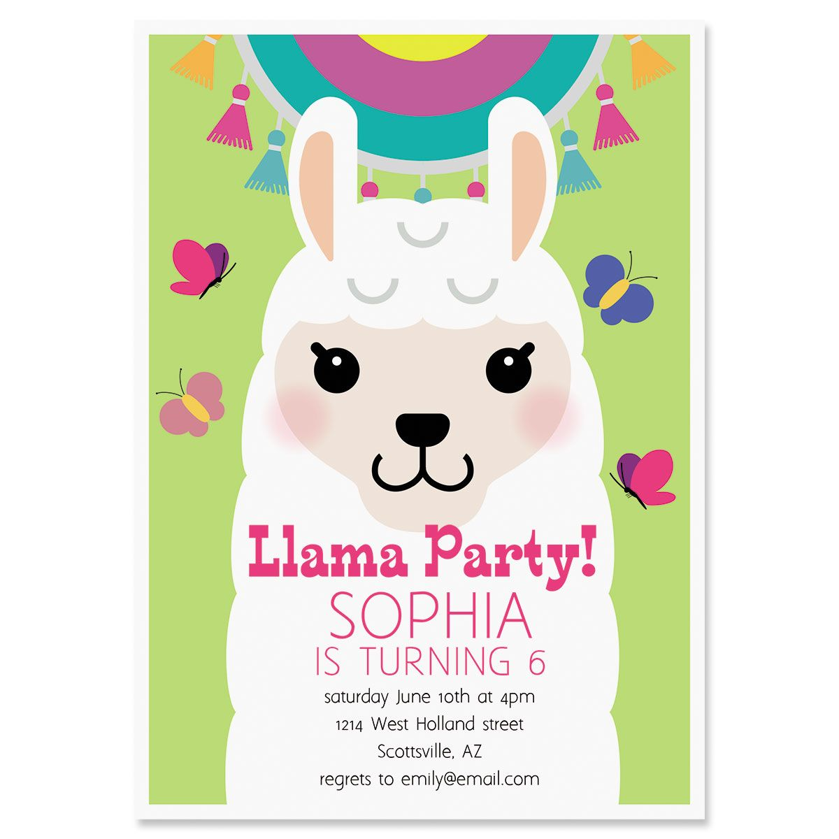 Personalized Llama Festival Birthday Invitation