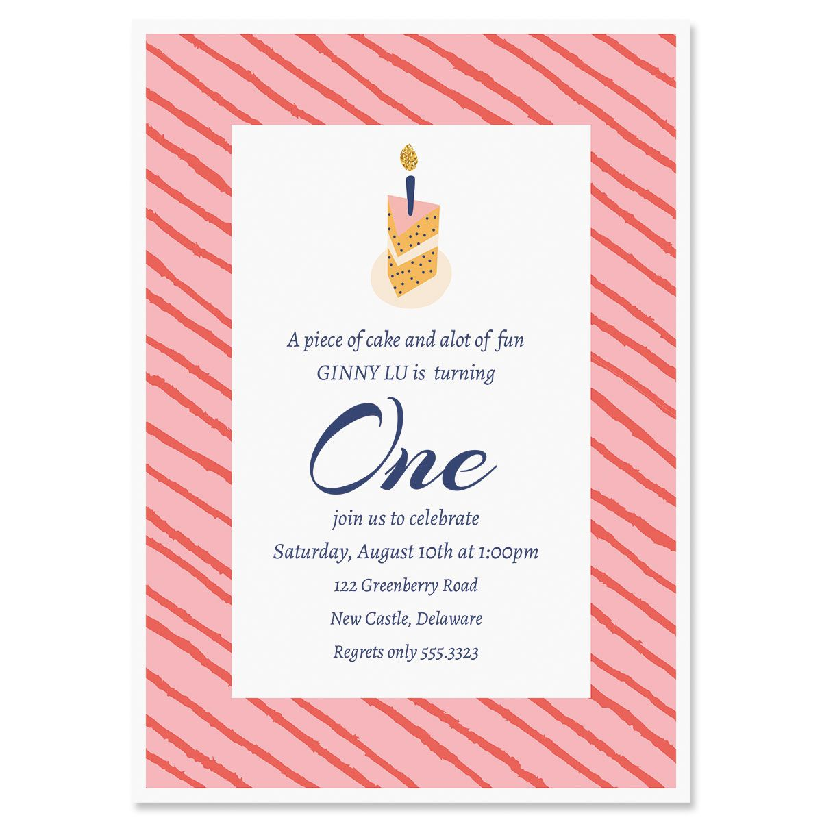 Personalized Piece of Cake Birthday Invitation