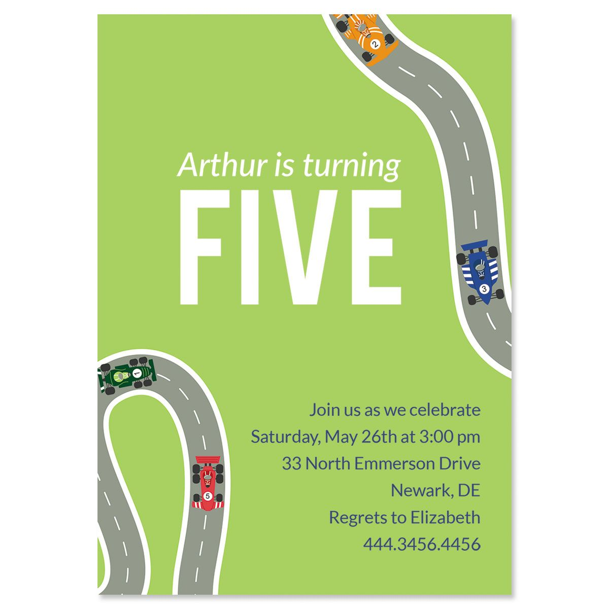 Personalized Race Car Birthday Invitations