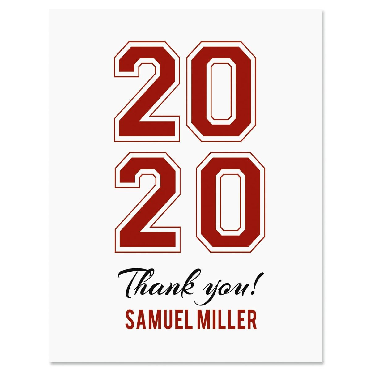 Collegiate Personalized Thank You Cards