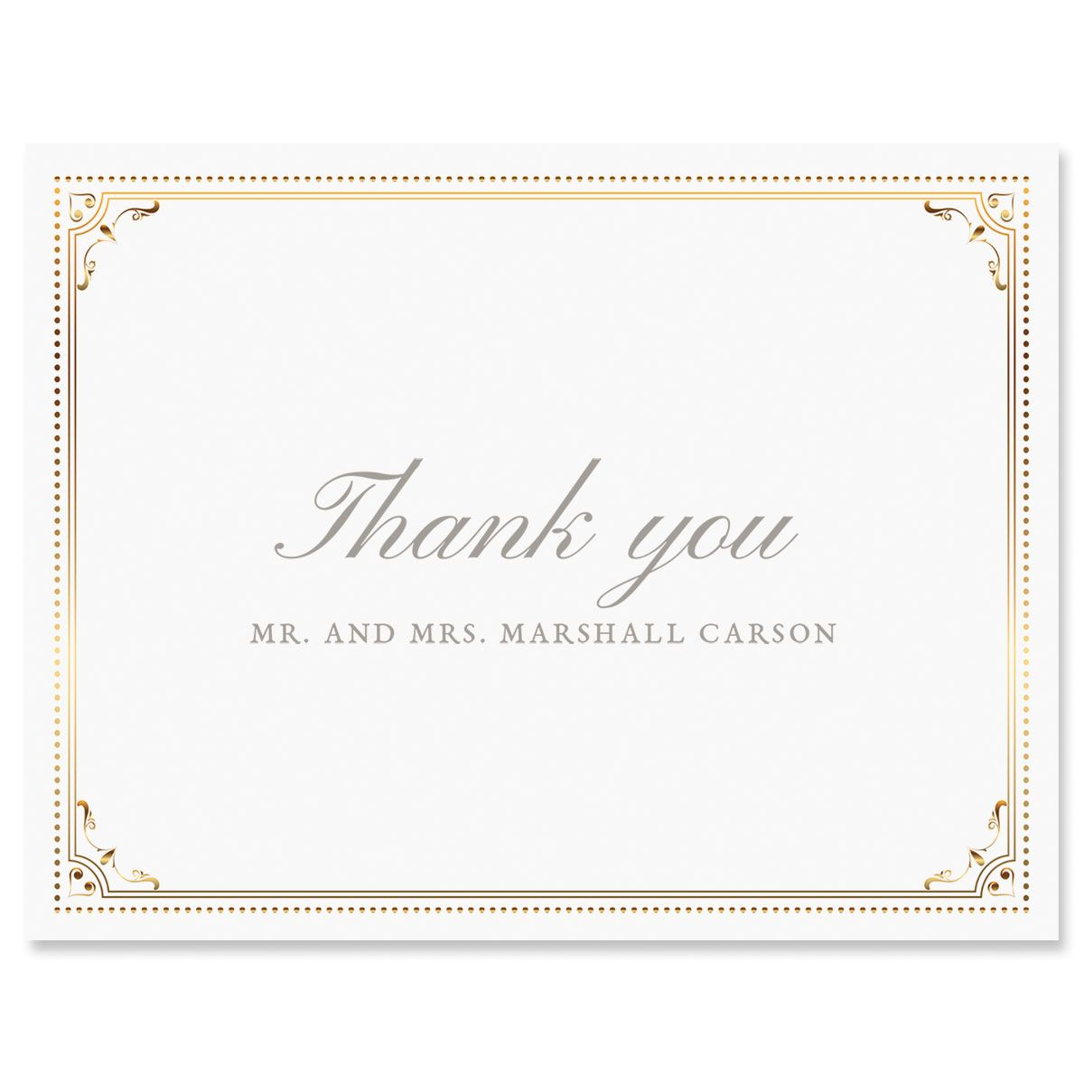 Personalized Gold Frame Thank You Cards