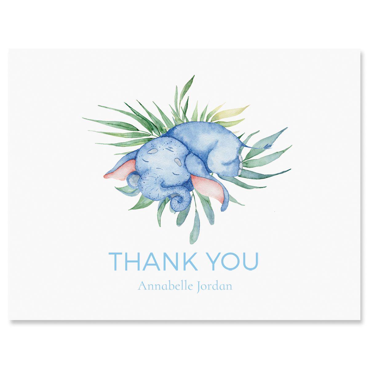Personalized Sleeping Elephant Thank You Cards