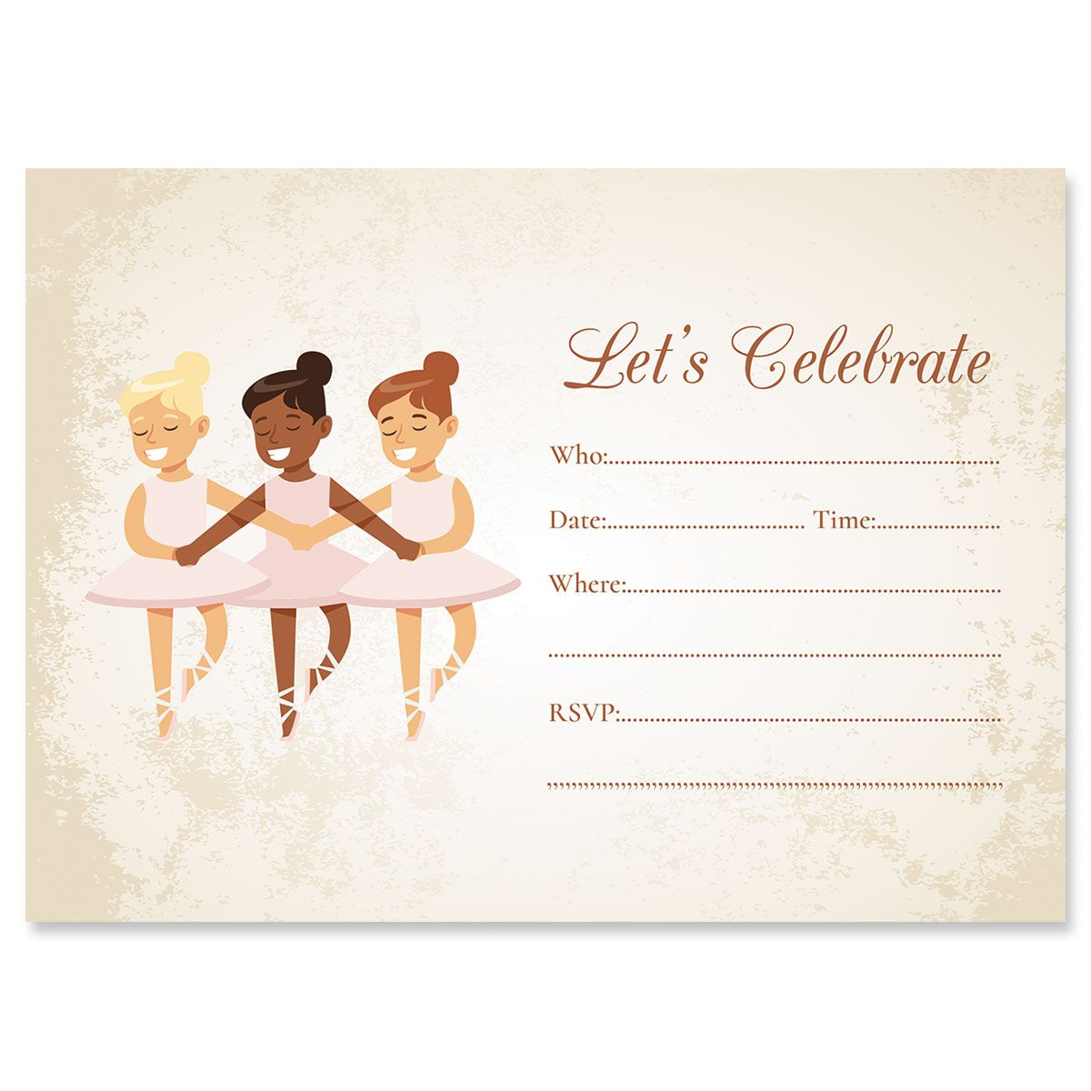 Ballerina Fill In Birthday Invitations