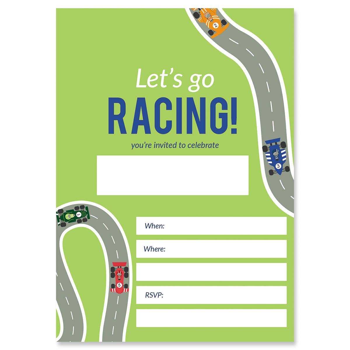 Race Car Fill In Birthday Invitations