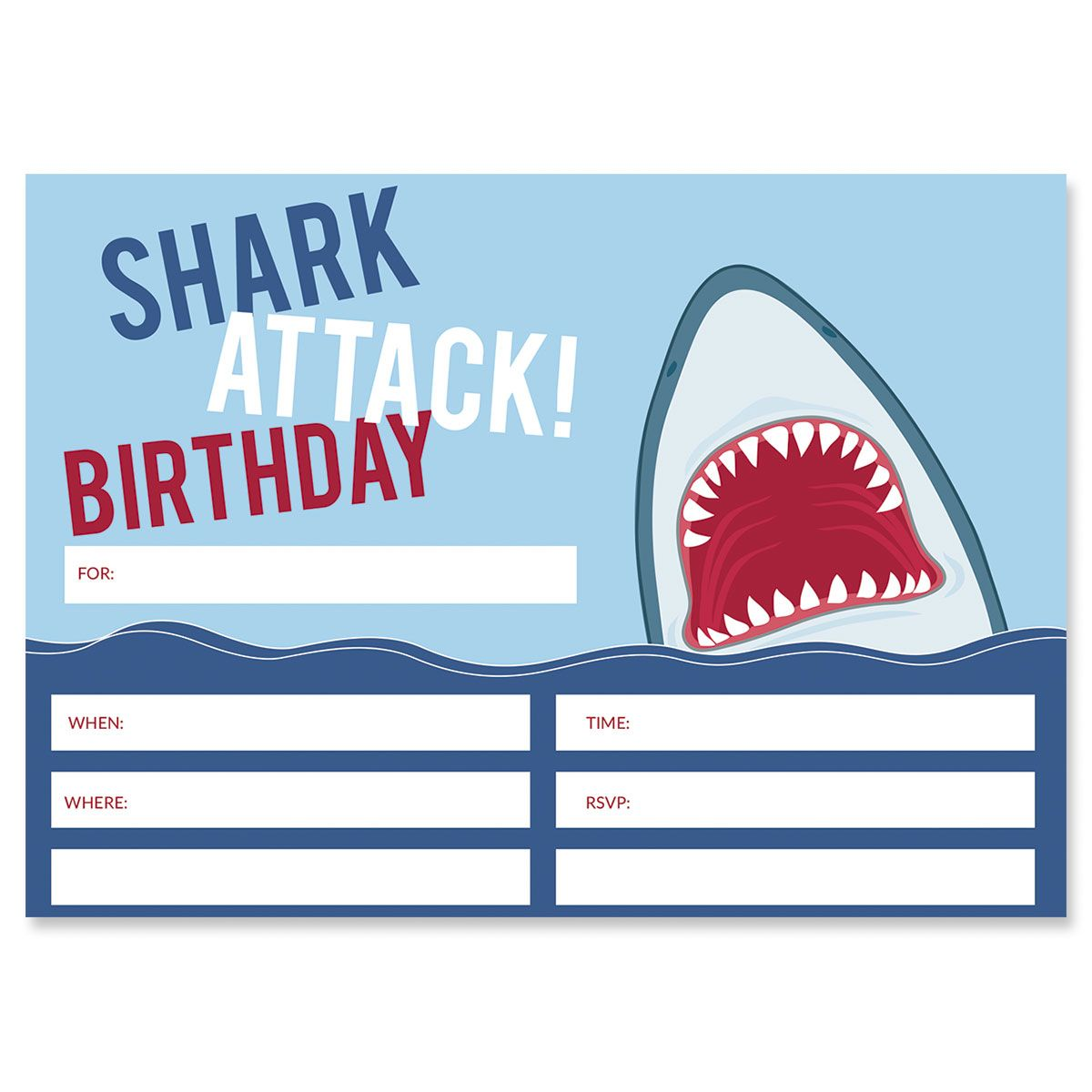 Shark Attack Fill In Birthday Invitations