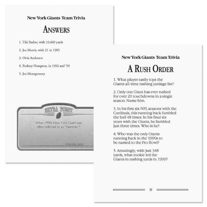 New York Giants NFL Team Trivia Book