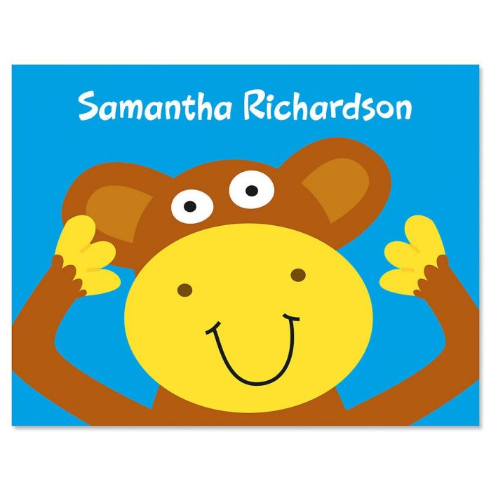 Monkey Kids Personalized Note Cards