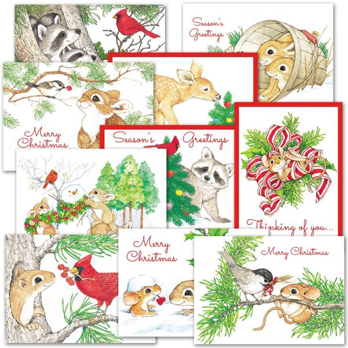 Cute Critters Christmas Card Value Pack - Set of 40