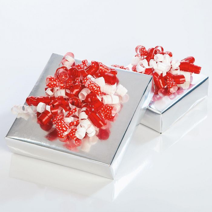 Red and White Curly Bows - Set of 24