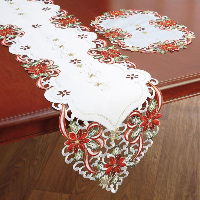 Poinsettias & Bows Table Runner and Placemats