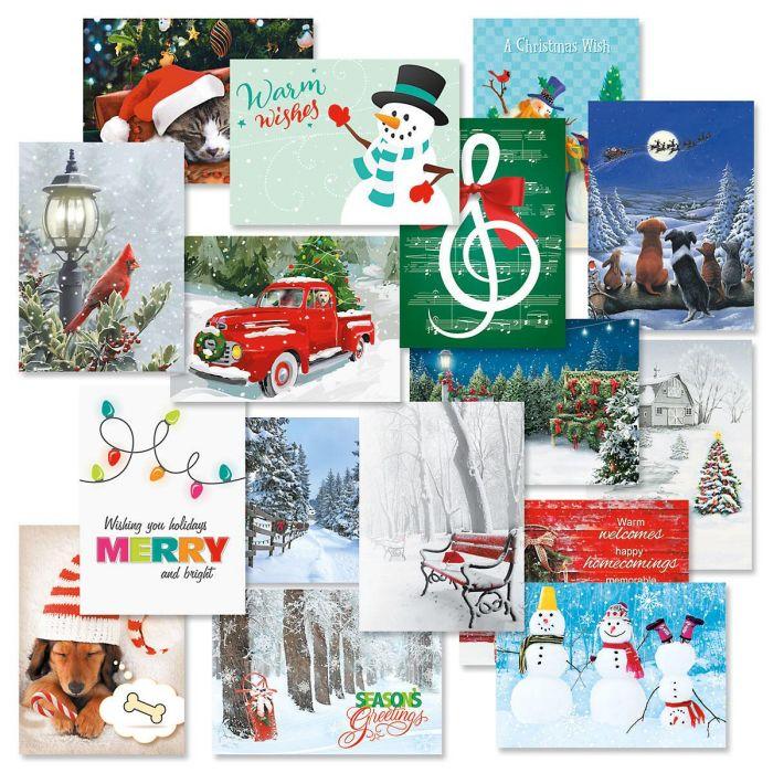 Christmas Card Variety Packs - Set of 64