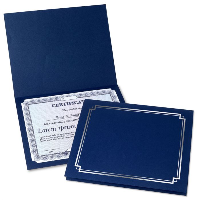 Classic Blue Certificate Folder with Silver Border - Set of 50